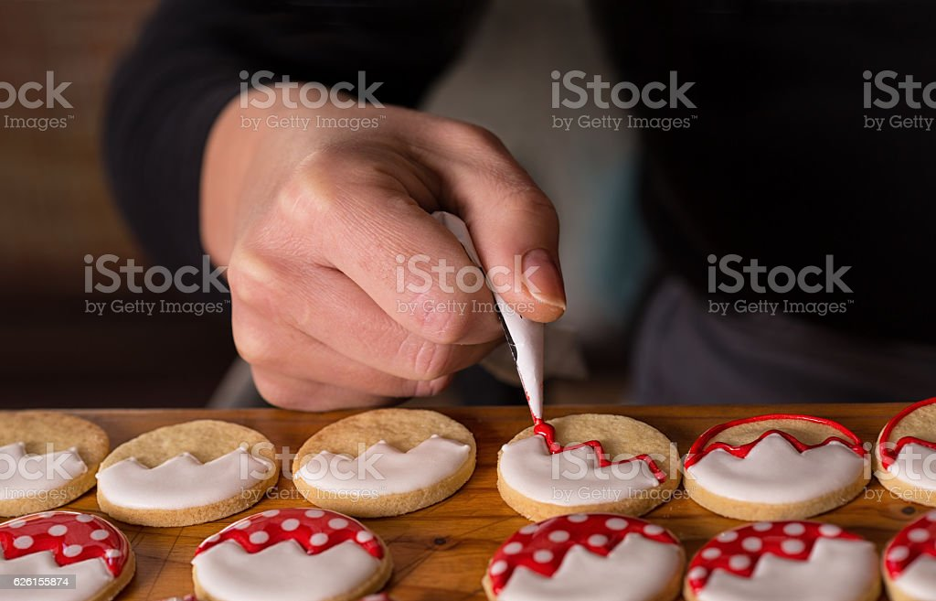 Decoration cookies icing, christmas gingerbread stock photo