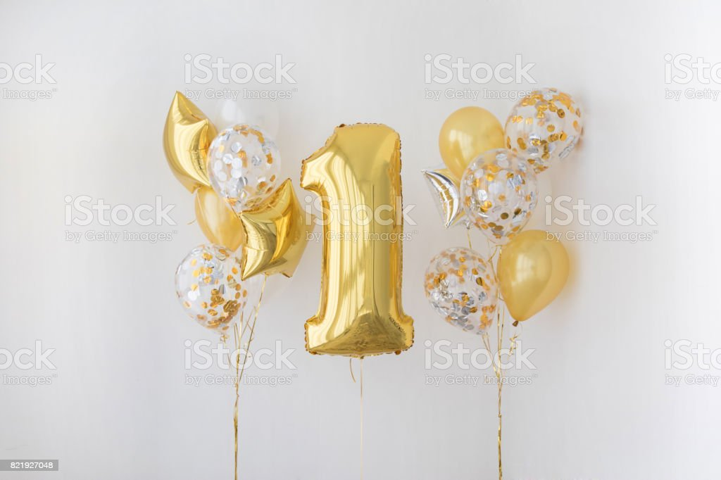 Decoration for 1 years birthday, anniversary stock photo