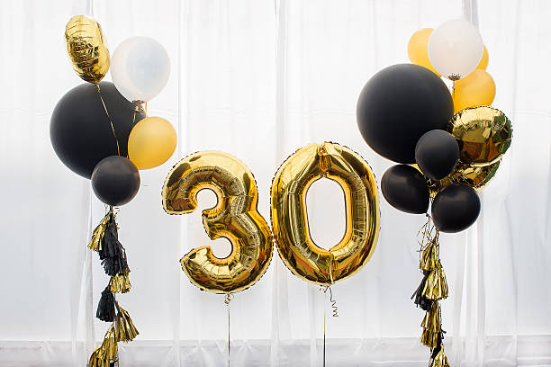 decoration for 30 years birthday, anniversary - number 30 stock photos and pictures
