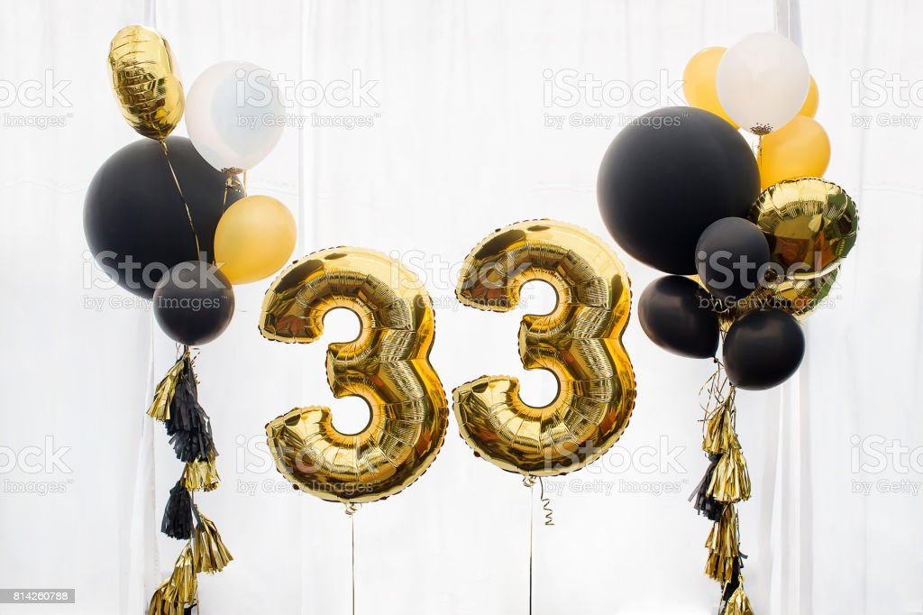 Decoration for 33 years birthday, anniversary stock photo