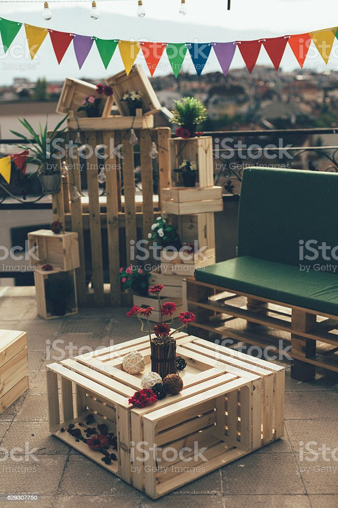 Decoration for a roof party stock photo