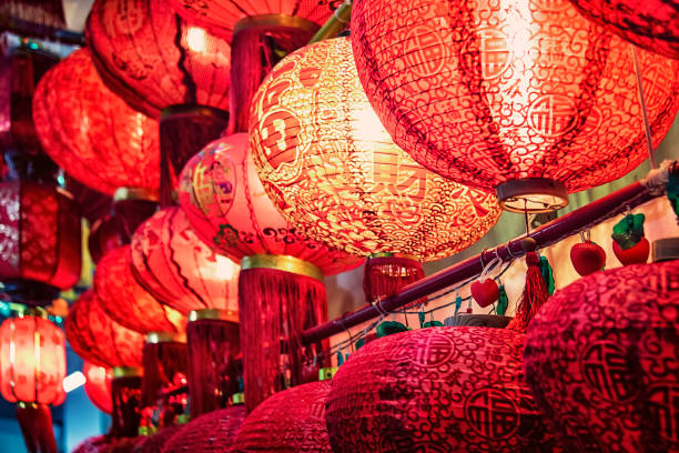 Decoration for chinese new years Red chinese lantern in temple lantern stock pictures, royalty-free photos & images