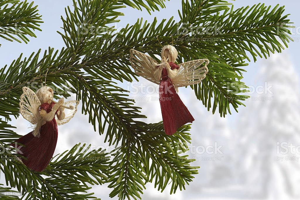 decoration for Christmas tree, angel from straw royalty-free stock photo
