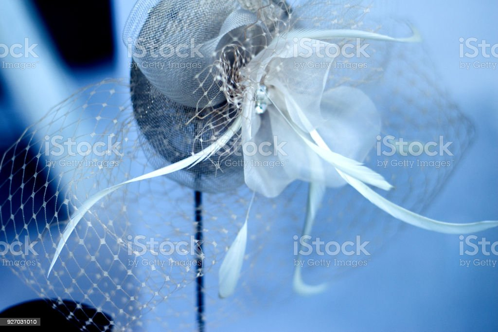 Decoration for the hairstyle of a woman as a wedding guest stock photo
