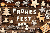 istock Decoration, Frohes Fest Means Merry Christmas, Tree And Sled, Snowflakes 1186867669