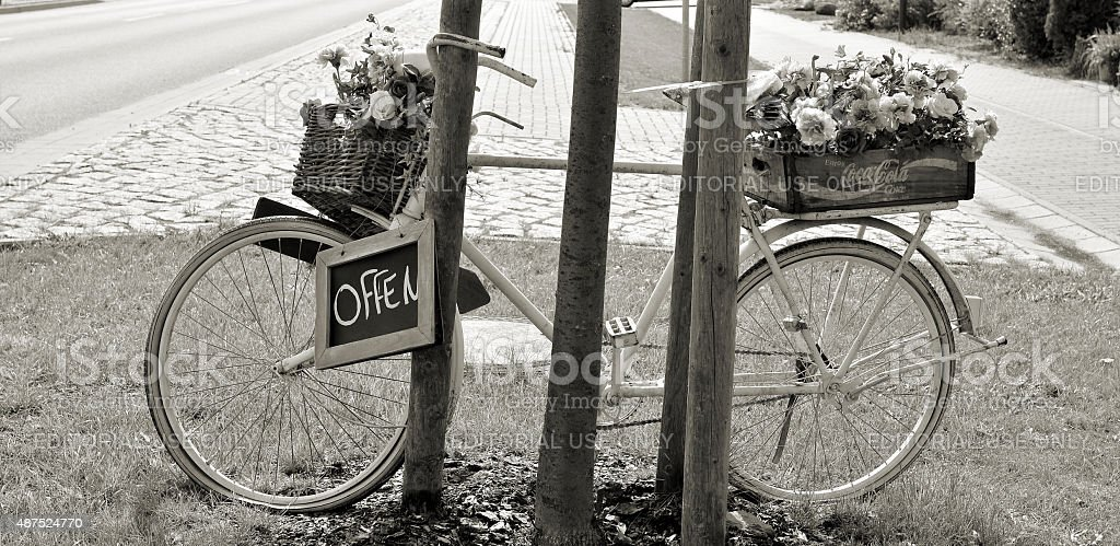 decoration in front of a flower shop stock photo