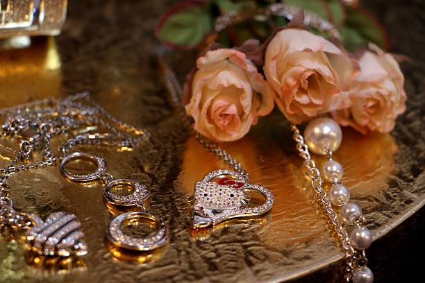 decoration: jewels and rose stock photo