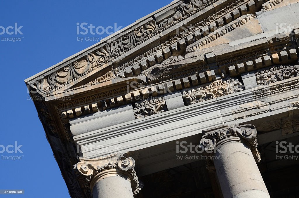 Decoration of ancient Garni temple roof,classical Hellenistic building , Armenia stock photo
