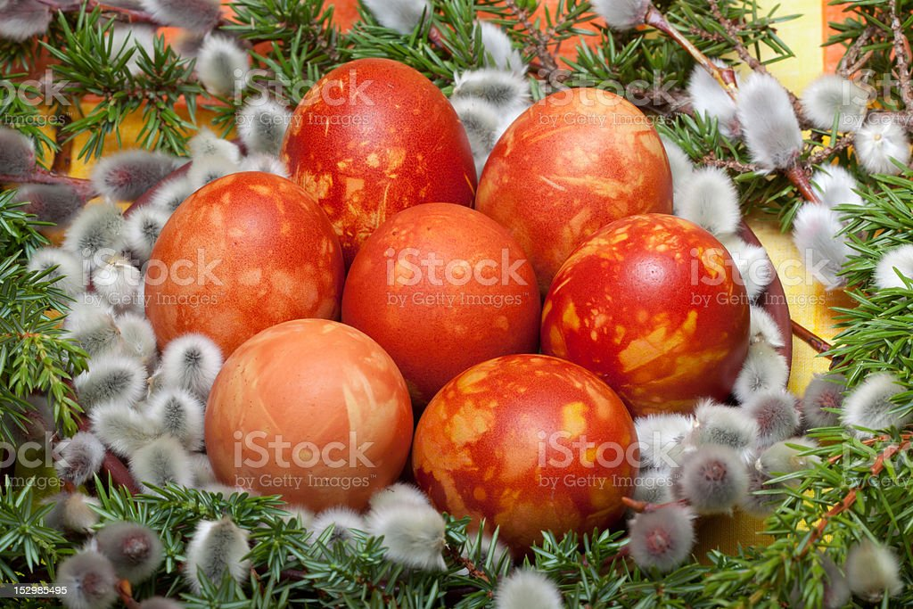Decoration of easter eggs royalty-free stock photo