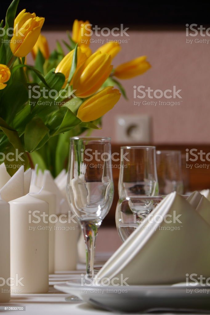 Decoration of yellow tulips for a holiday.