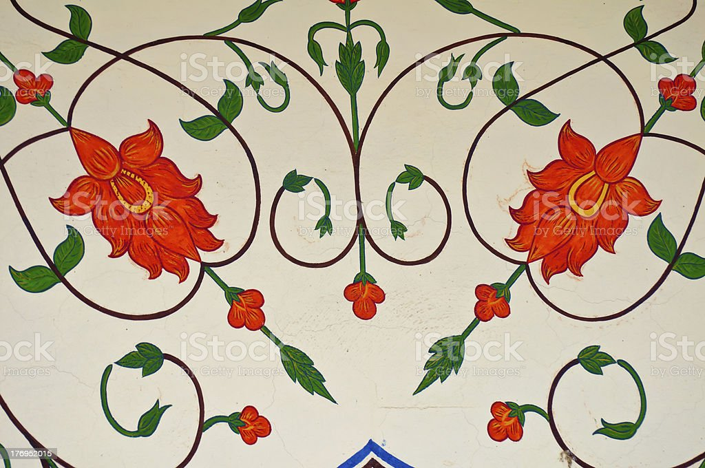 decoration on ancient walls of jaipur stock photo