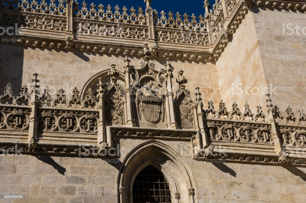 Decoration on Granada Cathedral wall stock photo