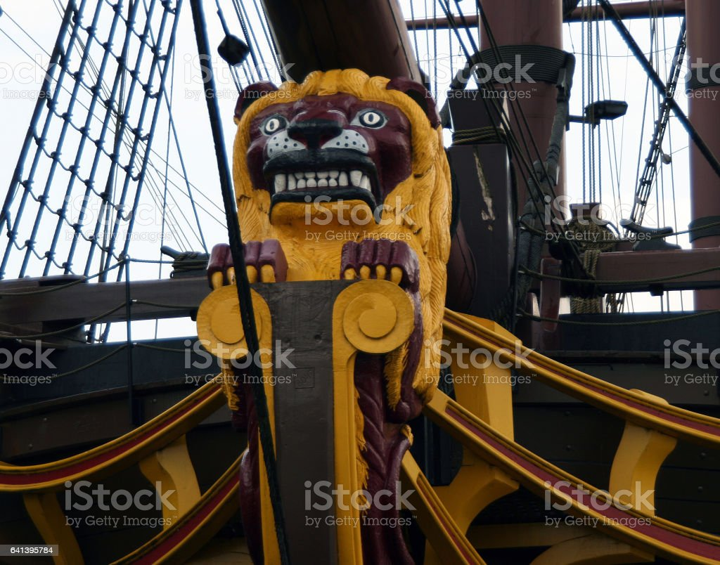Decoration on the front of ship 'Amsterdam' (replica of the 18th-century cargo ship of the Dutch East India Company) stock photo