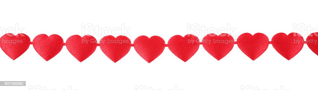 Clip Art Line Of Hearts : Decoration ribbon hanging row of red hearts love stock