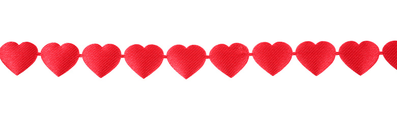 Decoration Ribbon Hanging Row Of Red Hearts Of Love Stock ...