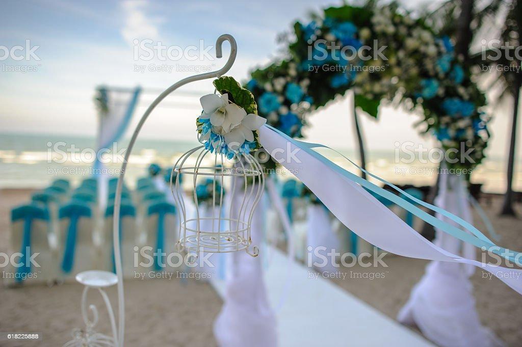 Decoration Wedding outdoor on beach background, Thailand stock photo