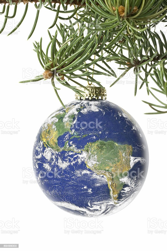 Decoration with an firtree branch and toy from globe royalty free stockfoto