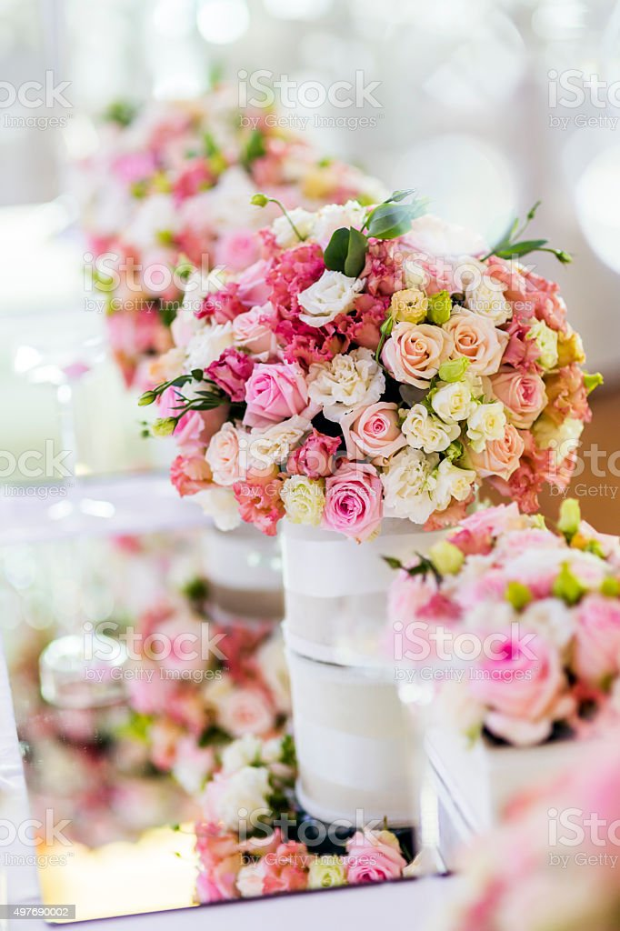 Decoration with beautiful roses stock photo