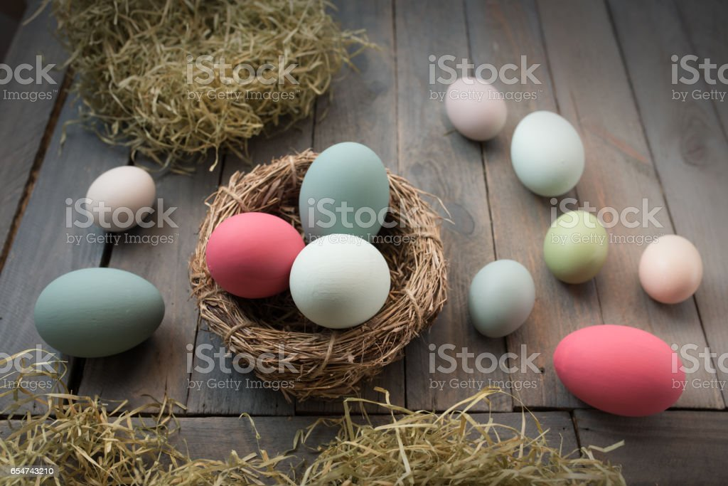 Decoration with colorful easter eggs stock photo