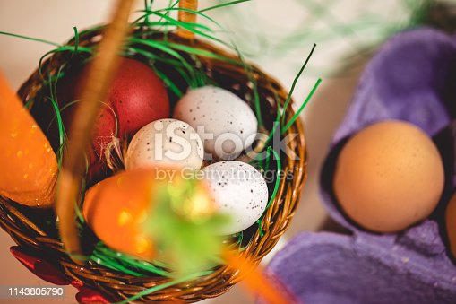 Decoration with crafted eggs for easter