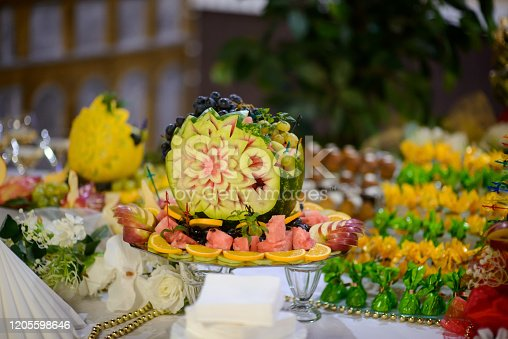 992836992 istock photo Decoration with fruit for child birthday. 1205598646