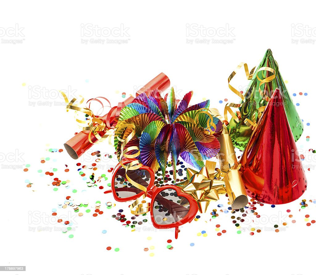 decoration with garlands, confetti and party accessories royalty-free stock photo
