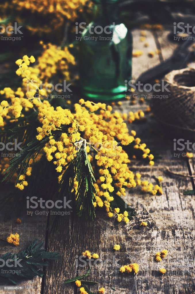 Decoration with mimosa on rustic table stock photo