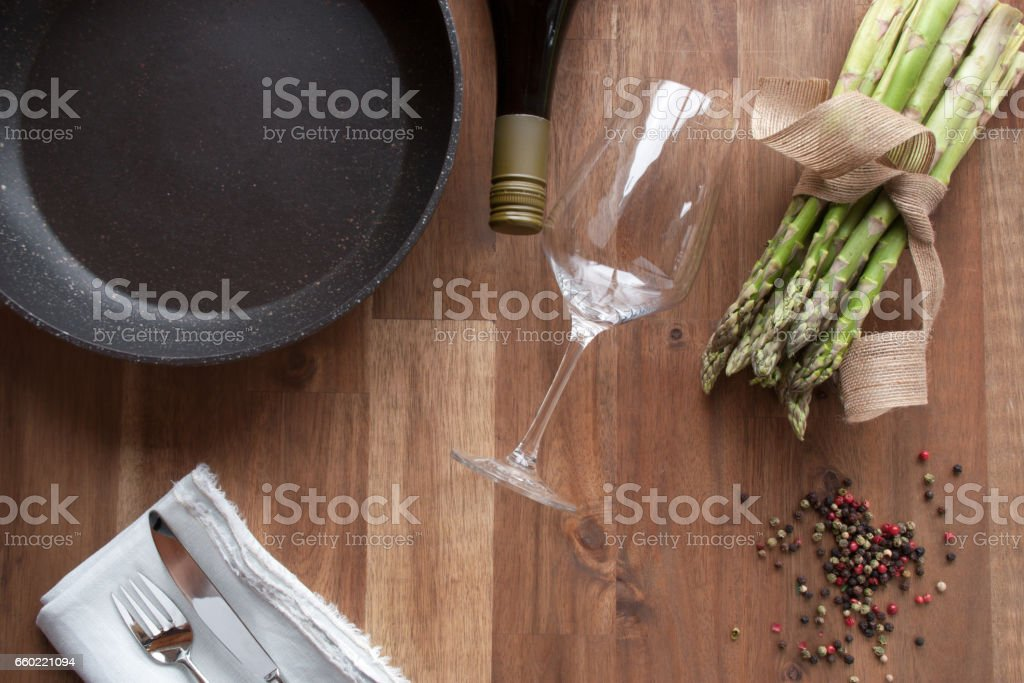 Decoration with pan for asparagus eating stock photo