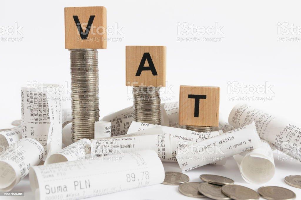 VAT decoration with receipts stock photo