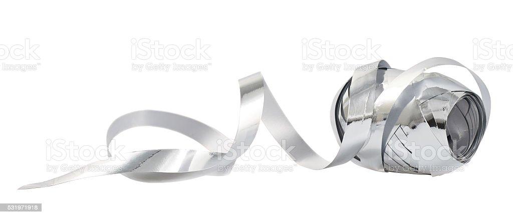 Decorational ribbon tape reel isolated stock photo