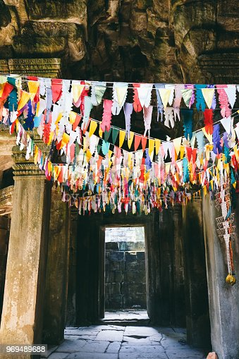 Colorful decorations on old ruins of Angkor, Siem Reap
