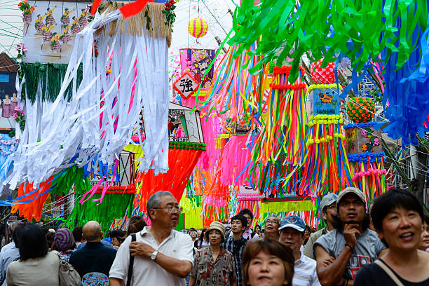 Decorations at the Tanabata Festival stock photo