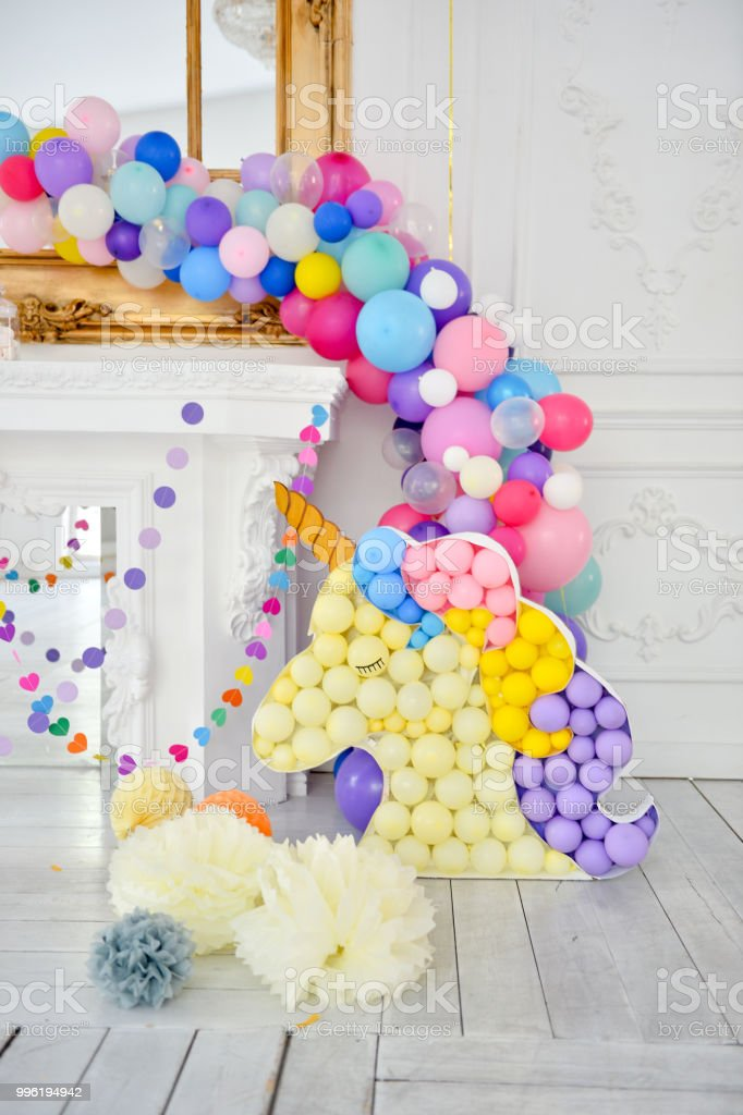 Decorations for holiday party. A lot of balloons. Birthday party...