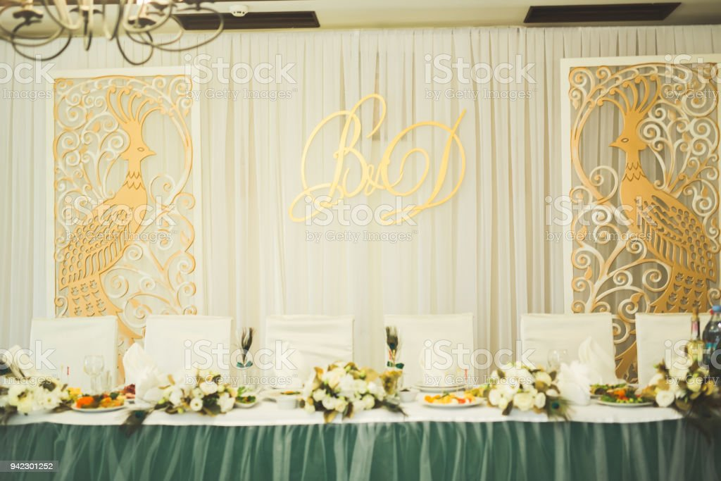 Decorations for the wedding ceremony. Beautiful flowers stock photo