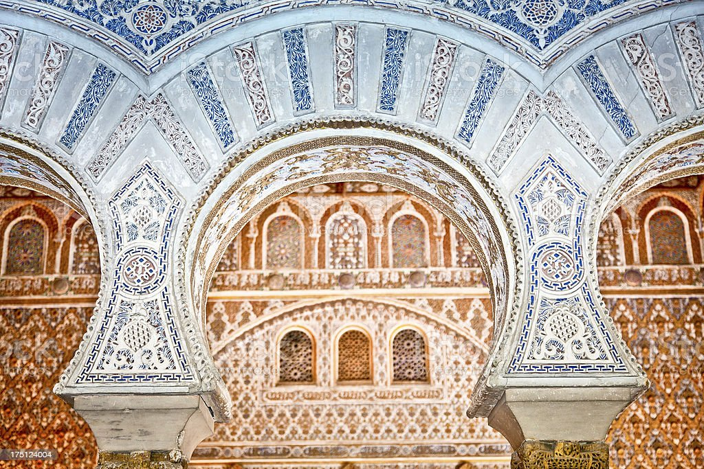 Decorations in the Royal Alcazars of Seville, Spain. stock photo