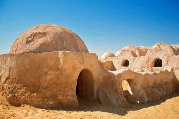 Sahra Çölü,Nefta, Tunus'ta İlk Olarak Star Wars Episode Episode filminin dekorasyonu stok fotoğrafı