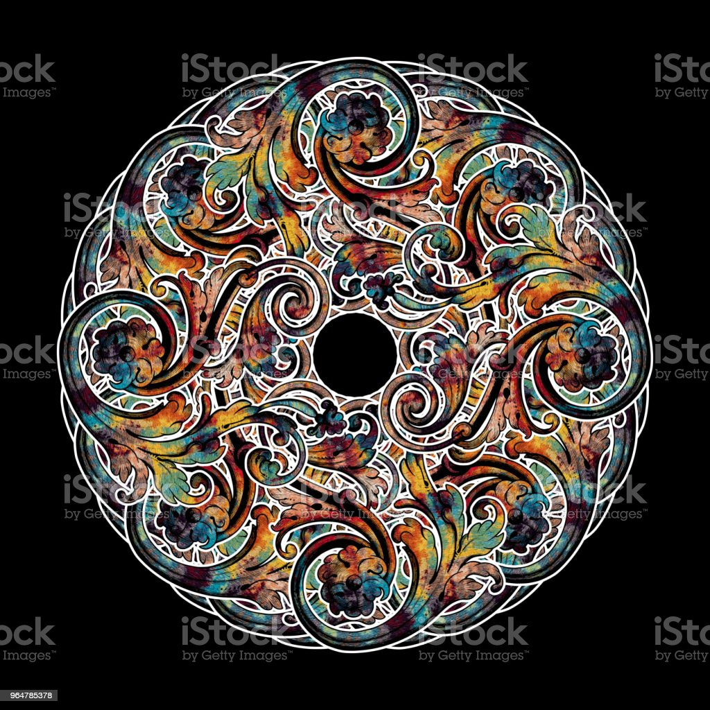 Decorative Abstract Kaleydoskopic Circular Mandala Image XII royalty-free stock photo