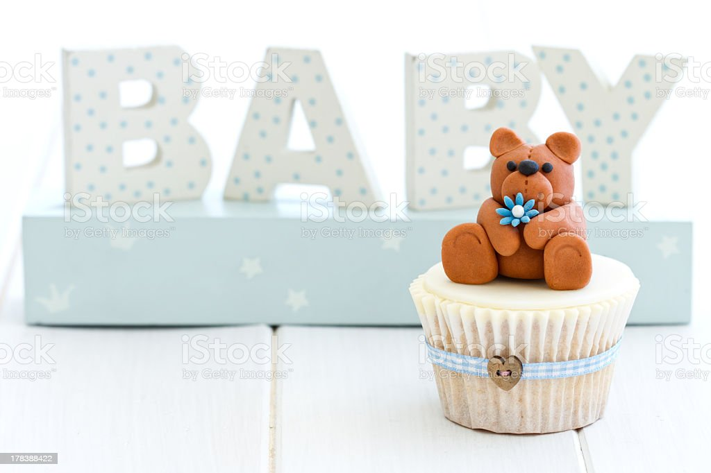 A decorative and cute cupcake for a baby shower  stock photo