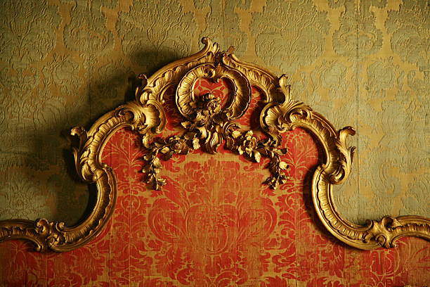 decorative antique bedboard - baroque stock photos and pictures