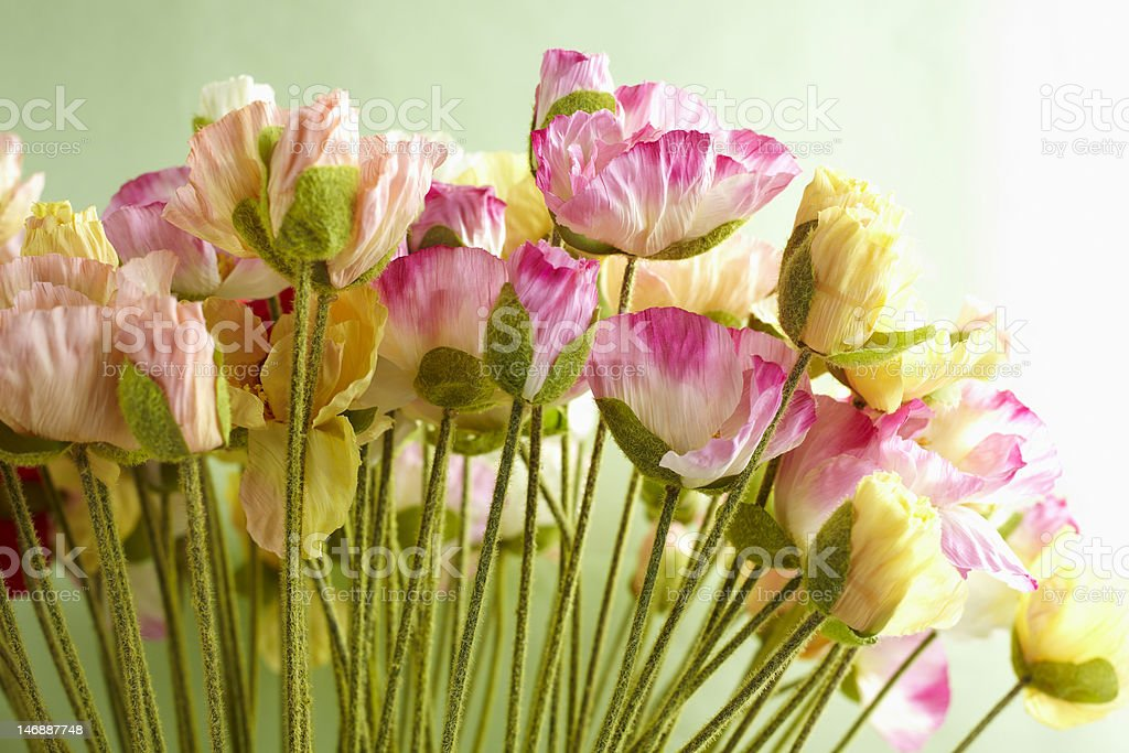 Decorative artificial flowers stock photo
