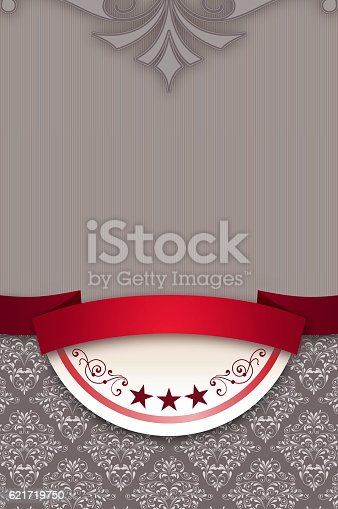 istock Decorative background with elegant ribbon and patterns. 621719750