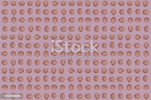 Decorative background with pink piggy banks in different positions. 3d illustration.