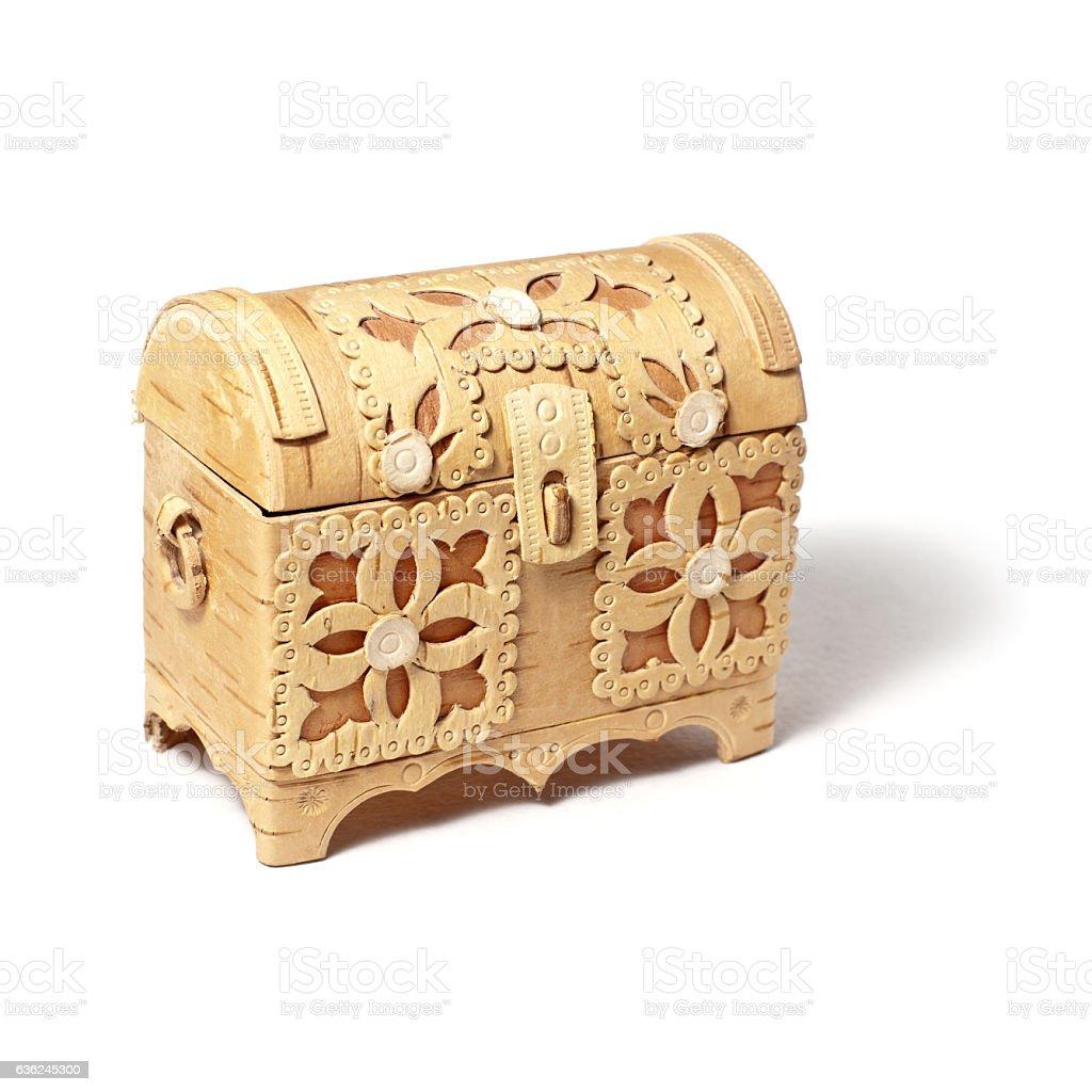Decorative bark box stock photo