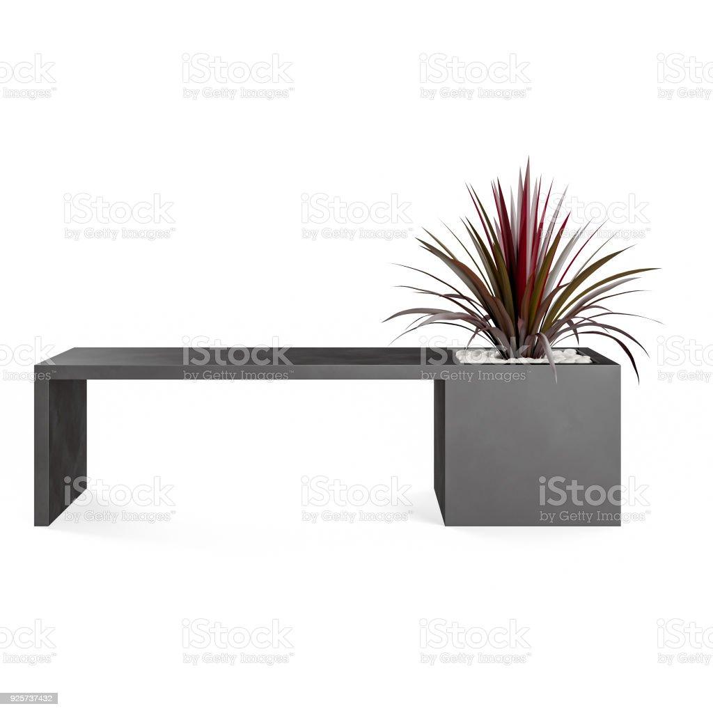 Decorative bench with Dracaena marginata plant planted in rattan pot stock photo
