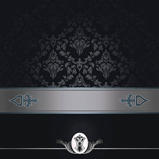 decorative black background with vintage patterns. - chrome menü stock-fotos und bilder