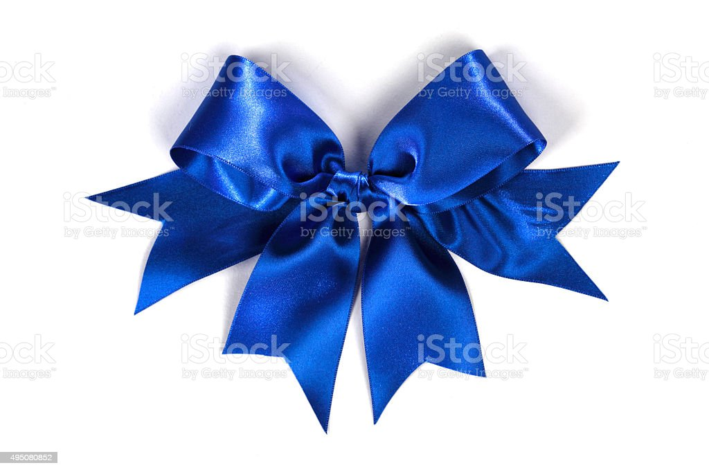 Decorative blue satin bow stock photo