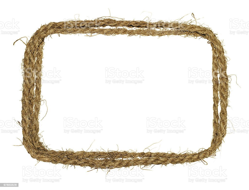 Decorative border made from natural twisted rope with fibers stock photo