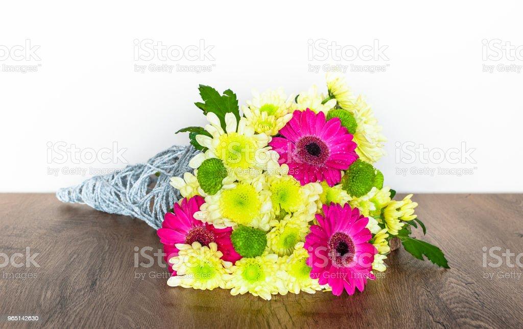 Decorative Bouquet with Chrysanthemums and Gerberas. zbiór zdjęć royalty-free