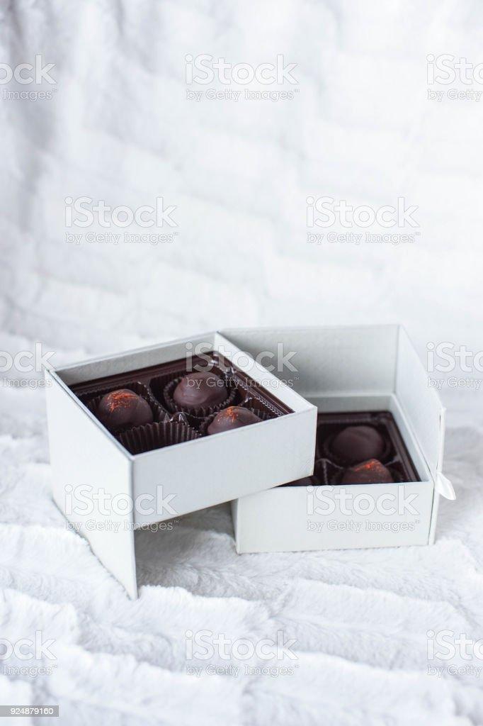 decorative box of chocolates stock photo