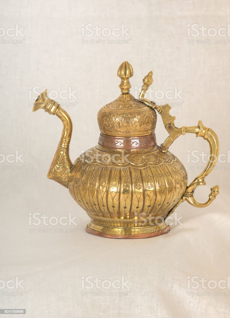 decorative brass jug stock photo